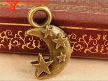 20*12MM Zinc alloy plating ancient bronze metal little Moon Star charms small pendant wholesale DIY jewelry accessories Retro