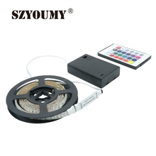SZYOUMY RGB Led Light Strip Battery Powered+RGB Remote Controller+24 Key Controller+Battery Box SMD 3528 IP65 Waterproof