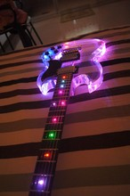Free shipping colorful SG Led light acrylic body electric guitar/fret light guitar(China)