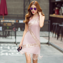 Hot Ladies Sequined Seamless Camisole Slip Dress Fringe  Fashion Sexy Sleeveless Tank Dress Paillette S-3XL Free Shipping
