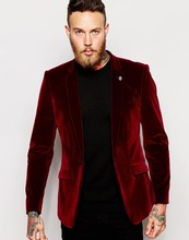 Burgundy Velvet Coat With Black Pants High Quality Groomsmen Wedding Suits Men's Formal Prom Suits Show Tuxedos (Jacket+Pants)