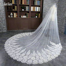 Glamorous Cathedral Ivory Bride Veils Length 5 m Tulle Appliques Lace Edge Made in China White Long Wedding Veil bridal 2018 New(China)