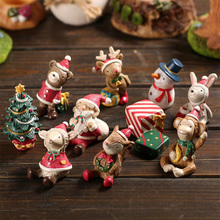 Christmas Tree Animal Snowman Deer Sant Claus Miniature figurine Decoration Fairy Garden statue Resin craft toy ornaments TNJ056