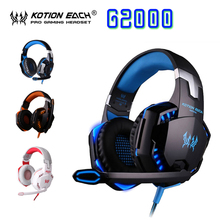 EACH G2000 G4000 Splendid Game Deep Bass headphone HIFI Stereo Headset With Microphone LED Light for Computer PC Gamer(China)