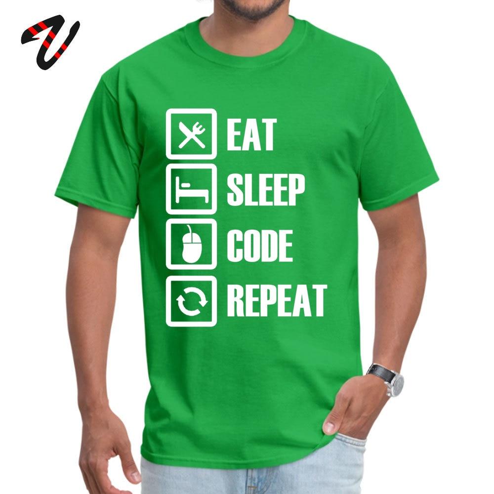 Slim Fit Eat Sleep Code Repeat Round Collar T Shirt Summer/Autumn T Shirt Short Sleeve for Men Brand New Pure Cotton T-shirts Eat Sleep Code Repeat 6179 green