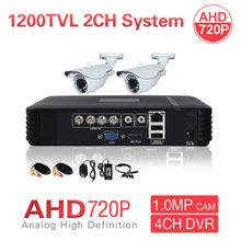 Home CCTV Outdoor 2CH AHD 720P 1200TVL Security Camera System 4CH HD DVR Color Video Surveillance Kit P2P Phone PC Mobile View