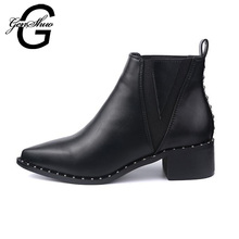 GENSHUO Black Ankle Boots Women Shoes Winter Pointed Toe Thick Heels Rivet Boots PU Leather Botas Autumn for Woman(China)