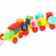 Colorful Cartoon Rotation Blocks Pulling Train Set With Number And Alphabet Cube Classic Wooden Toddler Toy(China)