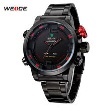 WEIDE Sport Watch Series Digital LED Stainless Full Steel Black Red Date Day Alarm Waterproof Men's Quartz Military Watches 2309