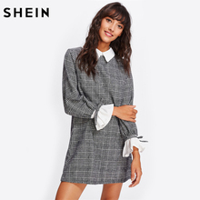 Buy SHEIN Contrast Tied Bell Cuff Collar Plaid Straight Dress Black White Contrast Collar Long Sleeve Color Block Dress for $24.97 in AliExpress store