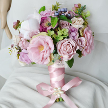 European Country Style Customize Handmade Silk Artificial Flower Bridal Bridesmaid Bouquets Wedding Bouquet Holding Flowers