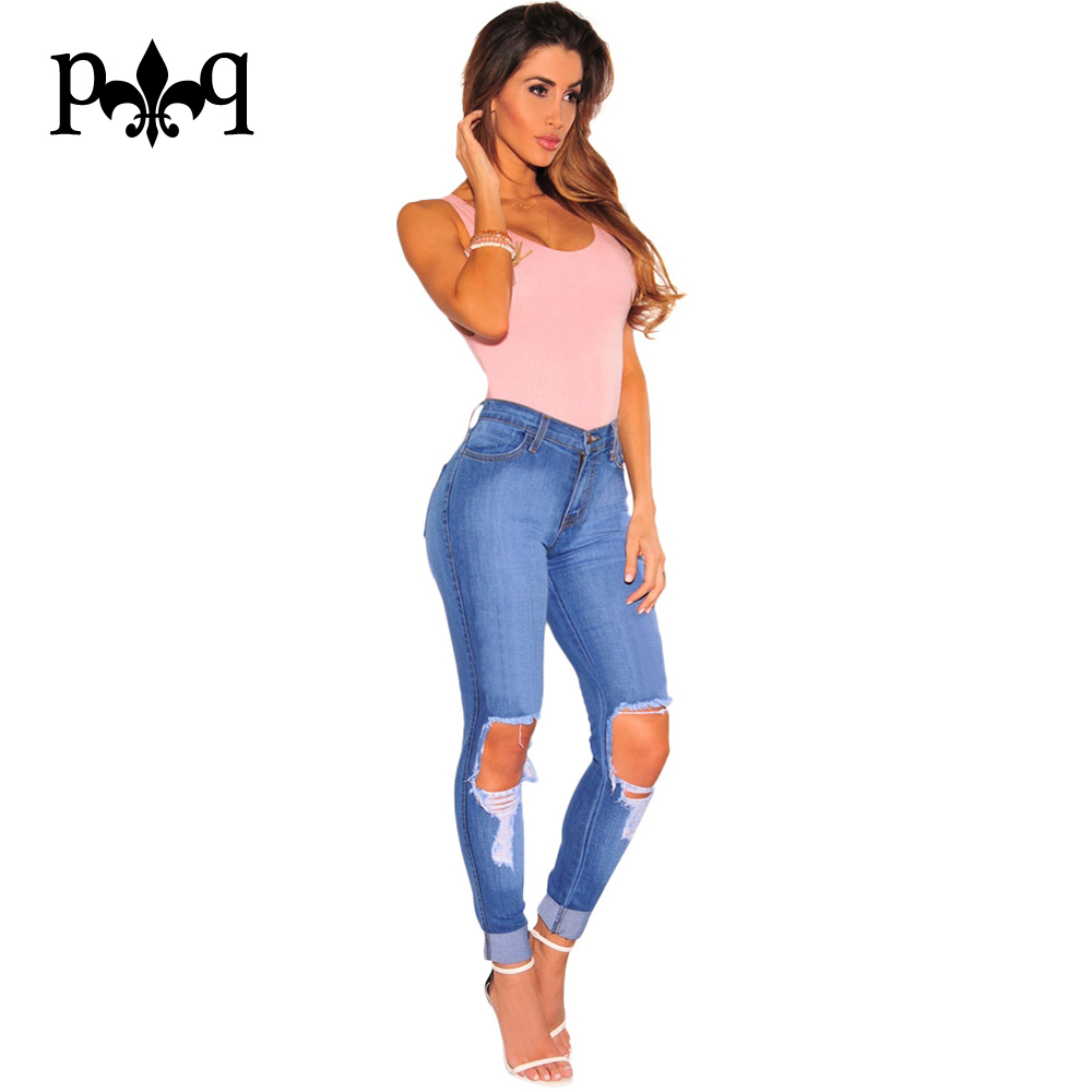 Plus Size Jeans High Waist Vintage Skinny Jeans Femme Slim Pencil Pants Casual Hole Ripped Denim Pants Trousers For WomenОдежда и ак�е��уары<br><br><br>Aliexpress