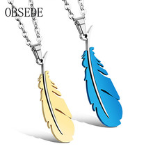 OBSEDE 3 Color Charms Feather Pendants Necklace for Lovers Style Stainless Steel Couples Necklace for Men and Women Jewelry Gift