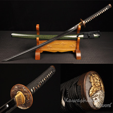 Handmade Japanese Katana Full Tang Folded Steel Samurai Sword Heat Tempered Special Bohi Green Grain Saya(China)