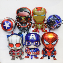 Kids Birthday Party Decoration Idea Avengers Mylar balloons toy super hero Captain America superman Iron man spider man theme
