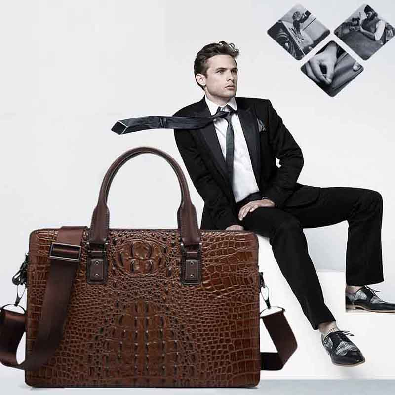New men's bag fashion tide crocodile pattern embossed leather handbag head layer cowhide business computer bag briefcase(China (Mainland))
