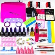 2018 UV LED Nail Lamp Manicure Set 6 Color UV Gel Polish Nail Kits Manicure Pedicure Set Extension Gel Nail Art Tools Kits