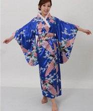 Hot selling Japanese Women's Silk Satin Kimono Evening Dress Yukata Flowers one size Royal blue H008(China)
