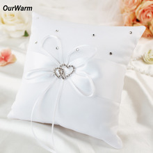 Buy Ourwarm 20*20cm Wedding Ring Pillow Double Heart & Rhinestones Decor Satin Bridal Cushion Bearer Ribbons Wedding Decoration for $4.55 in AliExpress store