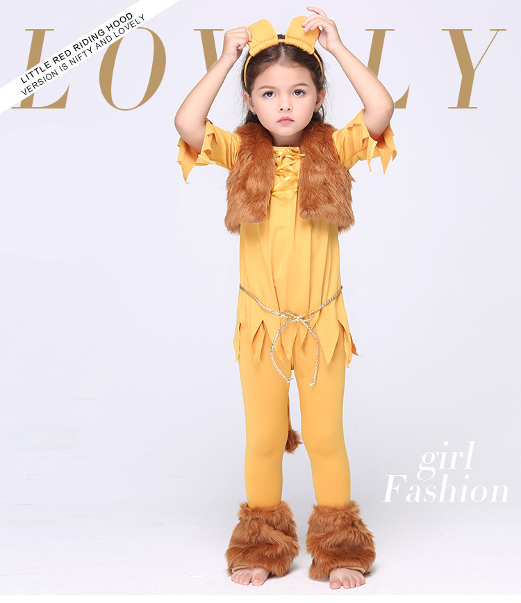 Y03-X012 Children kids Cosplay girl Princess Dress Halloween Party Costume Clothes anime performance winter Plush animal lion<br>