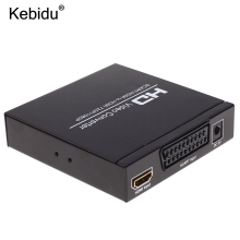kebidu HD SCART To HDMI Video Converter Splitter HDTV Audio Projector EU Plug for HDTV DVD with Power Supply Adapter