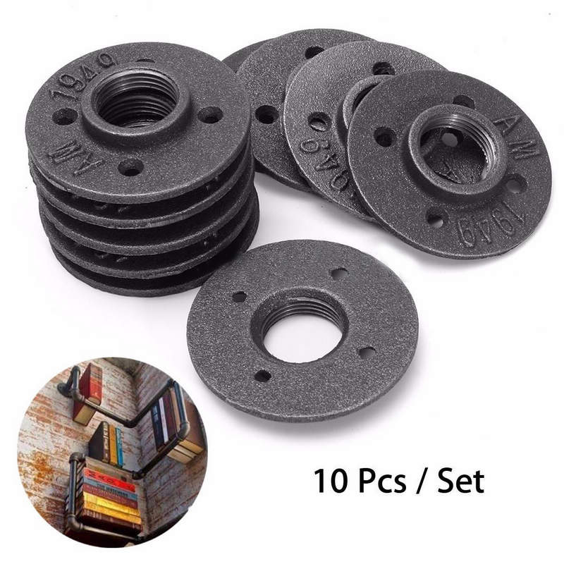 10pcs 1 Iron Pipe Fittings Threaded Floor Flange Wall Mounted Base Bracket Tube Pipe Flange Tube Pipe Accessories<br>