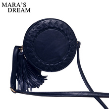 Mara's Dream Round Women Tassel Bag Woven Crossbody Bags Womens Shoulder Bag Ladies Cute Knitting Circular Women Messenger Bags(China)