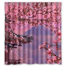 CHARMHOME Waterproof Shower Curtain Japanese Sakura Flowers Tree Cherry Blossom Bathroom Polyester Fabric