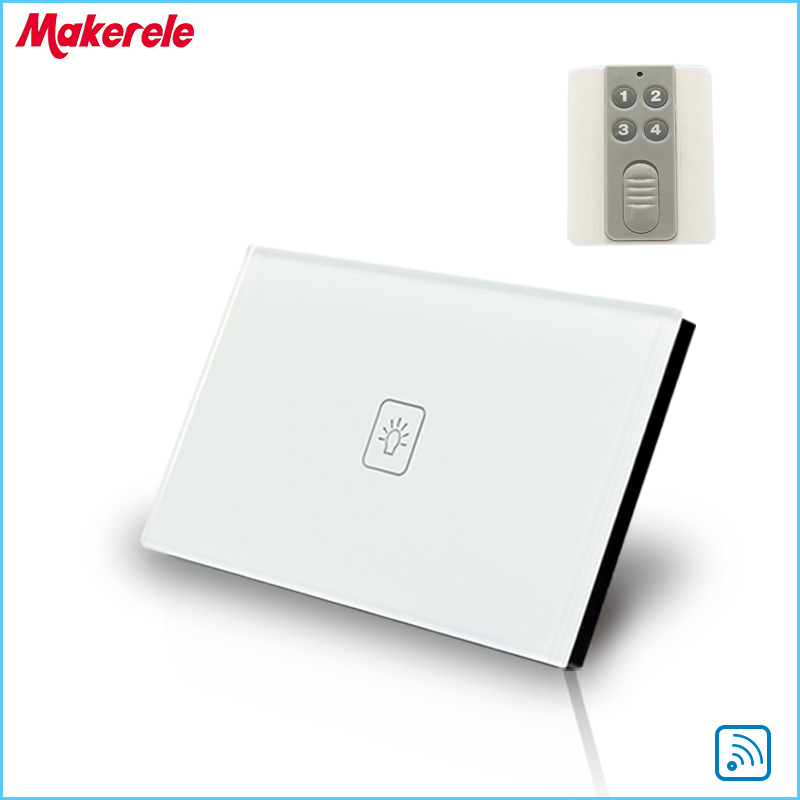 Remote Touch Switch US Standard 1 Gang 1way RF Remote Control Light Switch UK Standard Crystal Glass Panel with Remote controL<br><br>Aliexpress