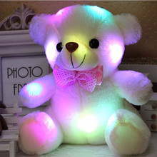 1pc 25cm Luminous Plush Teddy Bear Toys Gleamy Animal Doll Best Birthday Gift For kids Glowing Animal Toys(China)