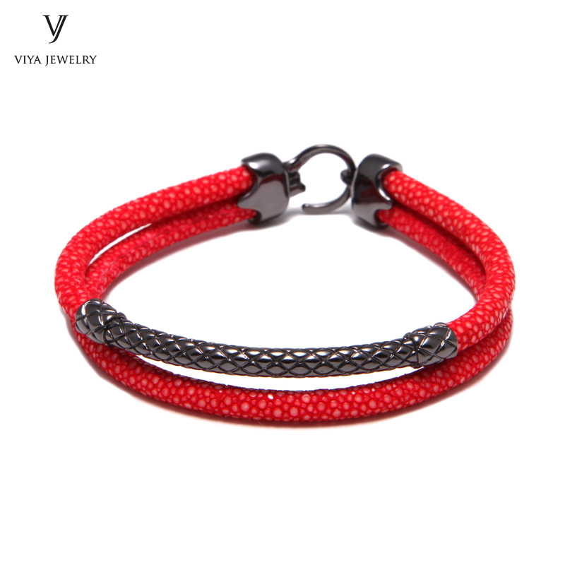 Handcrafted Luxury Custom Stingray Silver Bracelets Two hand-wrapped Stingray leather cords Men Bracelet With Pure Silver Clasp-VSST-03 (6)