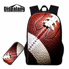 Dispalang Socceri Backpack and Pencil Cases for Boys Amiercan Footbally School Back Pack Cool Rucksack Primary Students Mochilas