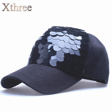 Xthree Shining baseball cap 5 panels spring snapback hat for women hip hop casquette gorras bone