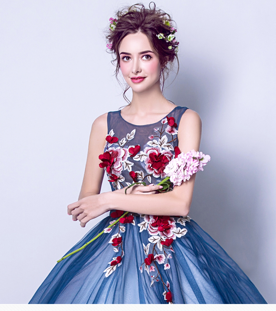 Angel Wedding Dress Marriage Evening Bride Party Prom Bridal Gown Vestido De Noiva Blue camouflage, fantasy flowers 2017 7572 1