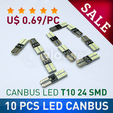 10 pcs LED T10 canbus 24 SMD no error SALE Super bright 4014 car light 12V w5w auto cob clearance bulb lamp GLOWTEC(China)