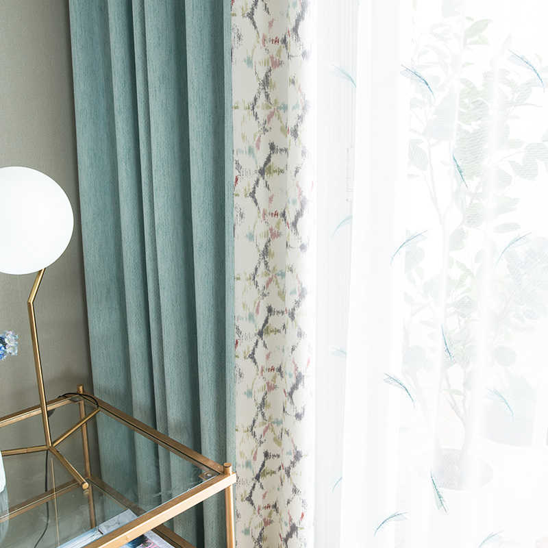 Custom curtain Nordic jacquard Stitching cotton linen Plaid livingroom bedroom window cloth blackout curtain tulle yarn M478
