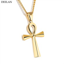 2017 Trendy Silver White Color Stainless Steel Necklace Men Coptic Ankh Cross Amulet Necklaces Pendants Women Religious Jewelry(China)