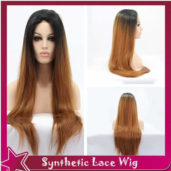 synthetic lace front wig ombre straight wig beyonce 1b#/30# lace front wigs for black women free/side/middle parting 26150%<br><br>Aliexpress
