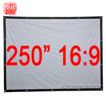 250 Inches 16:9 Canvas Wall Mounted Movie Projection Screen Curtains Film for HD DLP LED Home Theater System Projectors