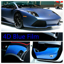 300mm x 1520mm Car Styling 4D Carbon Blue Fiber Vinyl Wrap Sheet Film Bubble Air Free Sticker Emblem Body Kit - Motor Mart store