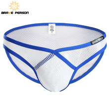 Buy BRAVE PERSON Brand Underwear Men Fashion Sexy Transparent Mesh Briefs Mens Low waist V-type Triangle Underpants Polyester Briefs