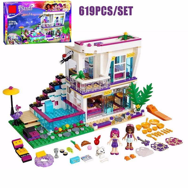 New 619pcs Girls Friend Livis Pop Star House Model Livi Andrea Figures Building Blocks Bricks Educational Toys Girl Gifts <br>