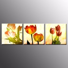 Modern Art Paint Melamine Sponge Board Canvas Painting Tulip Flowers Pictures Framed Canvas Prints Art Pictures For Living Room