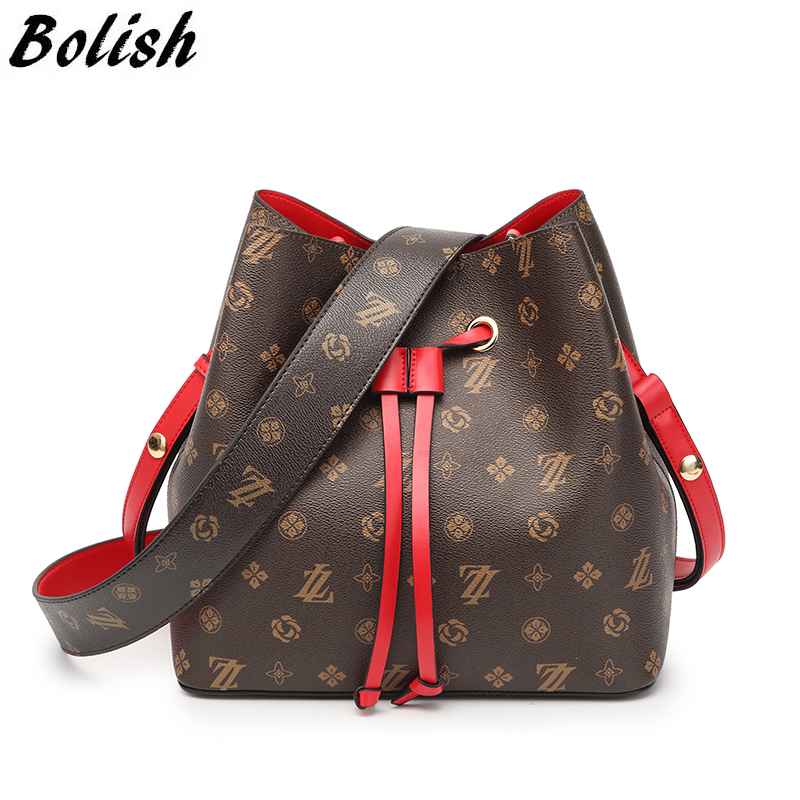 Bolish Women Vintage PU Double Strap Shoulder Bags Luxury High Quality Dames Tassen Female Daily Shopping 2-pcs Crossbody Bag<br>