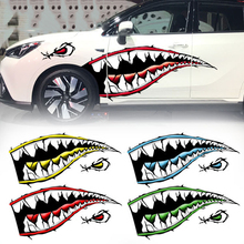 150cm Big Shark Mouth Eyes Sharp Teeth Body Garland Side Door Cool Car Styling PVC Sticker Decal for BMW BENZ AUDI VW SMART MINI