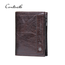 2018 New Design Brand Men Wallets 100% Genuine Leather Purse with Credit Card Holder Male Wallet Zipper Coin Pocket Photo Holder(China)
