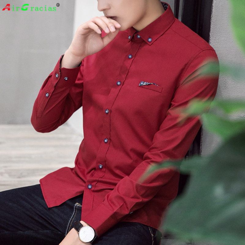 AirGracias Vintage Polyester dress Shirt Men Slim ...