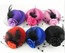 Girls Stage Show Hair Clips Lady Feather Rose Mini Top Hat Fascinator Party Costume Fashion Kids Hair Accessories