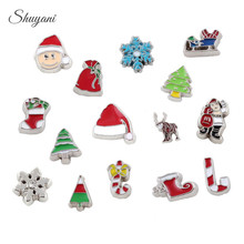 Wholesale 100pcs/lot Mixed Enamel Christmas Series Charms Christmas Santa Claus Tree Candy Cane Floating Locket Charms