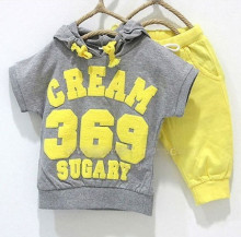Baby suits girls boys cream 369 short sleeve hoodies pants 2pcs clothing set childrens yellow red summer clothes whole suits